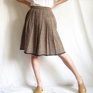 Vintage 50s Brown & Cream Houndstooth Plaid Skirt